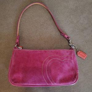 Coach pink suede heart ❤ demi purse